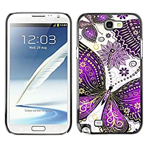 Qstar Arte & diseño plástico duro Fundas Cover Cubre Hard Case Cover para SAMSUNG Galaxy Note 2 II / N7100 ( Butterfly Painting Drawing Minimalist White)