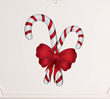 Christmas Candy Cane Wall Decals Stickers Uscolor003 White W Red 15 Inches Home Kitchen