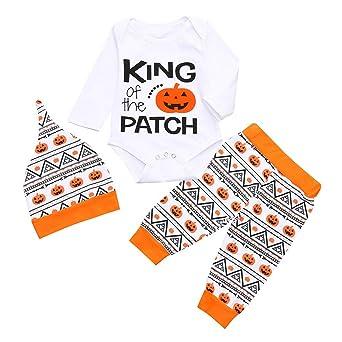 Longra 3PCS Halloween Bébé Vêtements Set Bambin Lettre Citrouille Imprimé  Barboteuse Manches Longues Col Rond Shirt de5ca1634e9