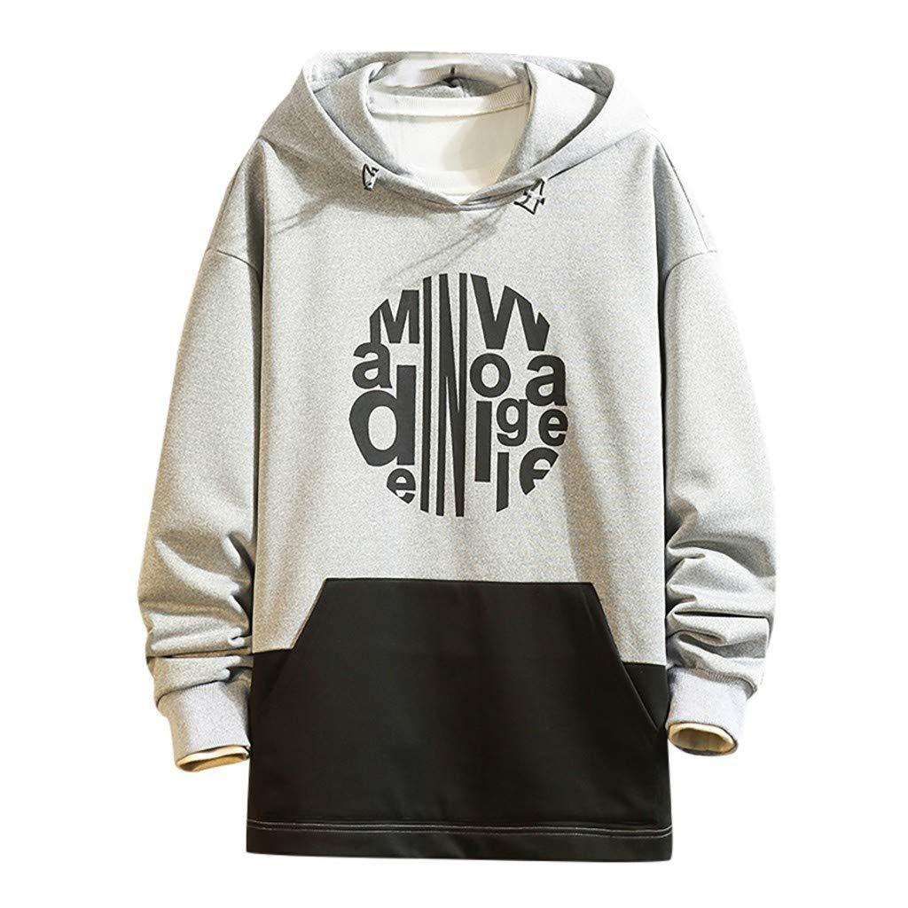 WINJUD Mens Hoodie Color Matching Print Hooded Drawstring Sweatshirt Long Sleeve Pocket Tops Gray by WINJUD
