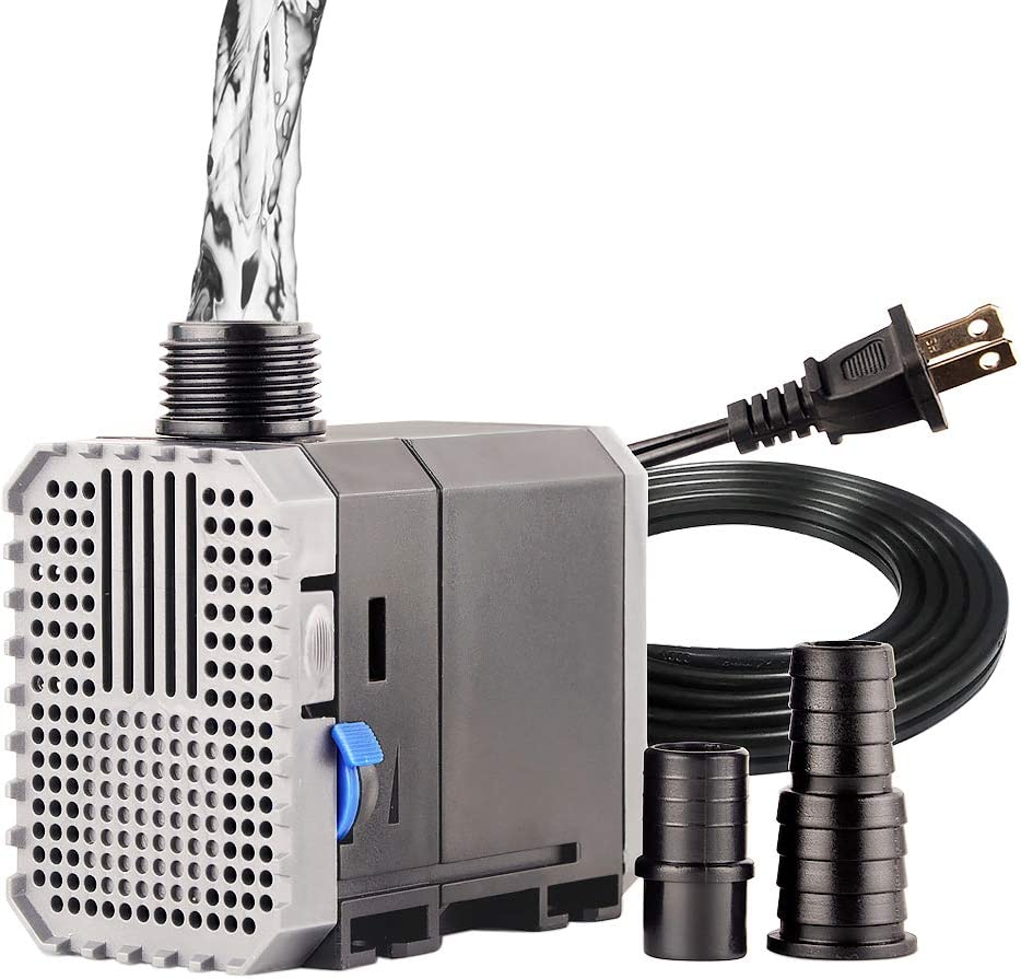 YCTECH Submersible Water Pump Ultra Quiet Aquarium Fountain Pump 160-1188 GPH for Fish Tank Pond Fountains Statuary Hydroponics Aquaponics 8-65W fit 10-100 Gallon Long Power Cord