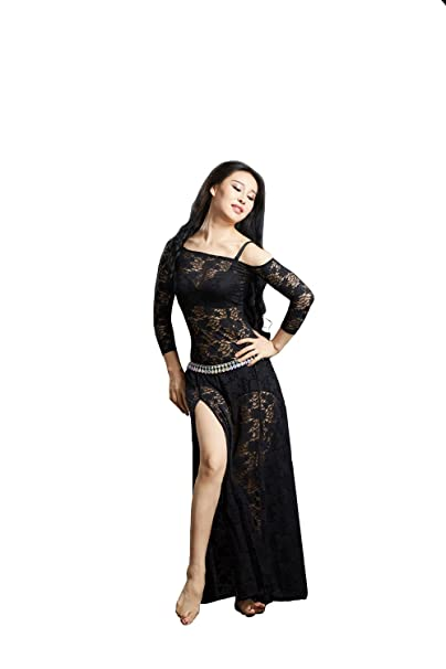 a73de81c4 Amazon.com: SHOWYOU Lace Belly 6 Color Dance Belly Dancing Costumes  Oriental Belly Dance Costumes Dress (Black): Clothing
