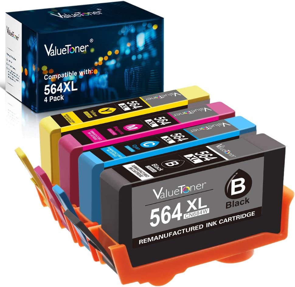Valuetoner Remanufactured Ink Cartridge Replacement for HP 564XL 564 XL for Officejet 4620, Photosmart 7510 7520 6520 5510 5514 5520 6515, Deskjet 3520 3522 Printer (Black, Cyan, Magenta, Yellow)