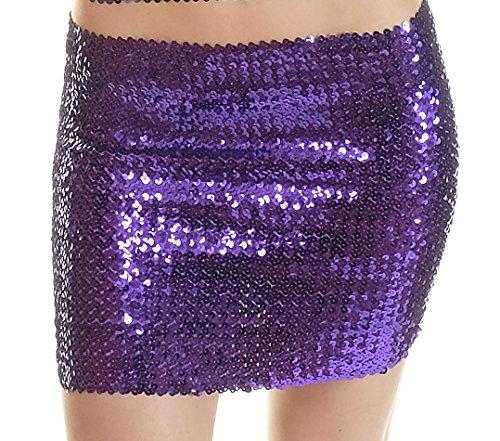 disco club top SEXY fashion nero minigonna viola PAILLETTES taglia SSORwUq