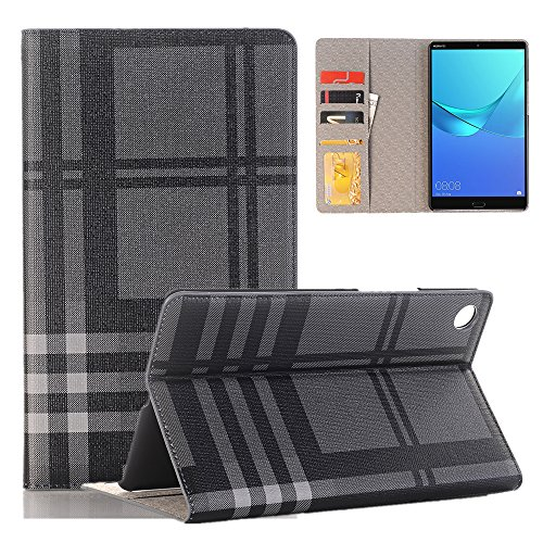 ELECFAN Leather Screen Protective Case Stand Cover for Huawei, Grid Plaid Pattern Book Style Folio Case With Card Slots Money Pocket for Huawei MediaPad M5 8.4 inch 2018 Release (Grey)