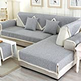 Sofa furniture protector for pet or dog all season,Summer Sectional Slipcovers L shape Washable Solid color Thicken cotton and linen Slip cover-1 piece-B 35x94inch(90x240cm)