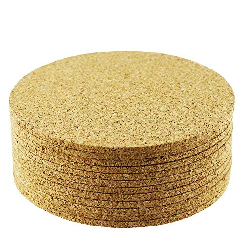 Yexpress 12pcs 4 Inch Round Cork Bar Coasters For Drink Board Bottom, Absorbent and Reusable ()