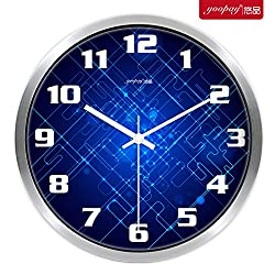 Znzbzt Simple Creative Mute Wall Clock Creative Living Room Wall Table Clock Metal Mute Wall Clock Modern Minimalist Art Quartz Watches, 12 inch, Metallic Silver Box