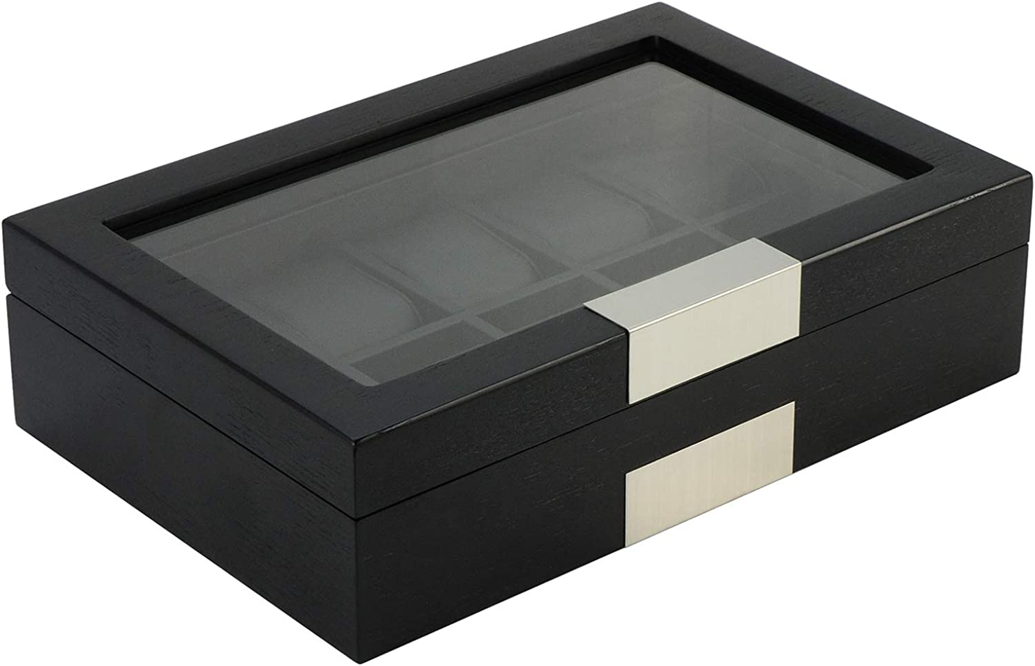 TimelyBuys 10 Ebony Wood Watch Box Display Case Storage Jewelry Organizer with Glass Top, Stainless Steel Accents, and Oversized Black Pillows
