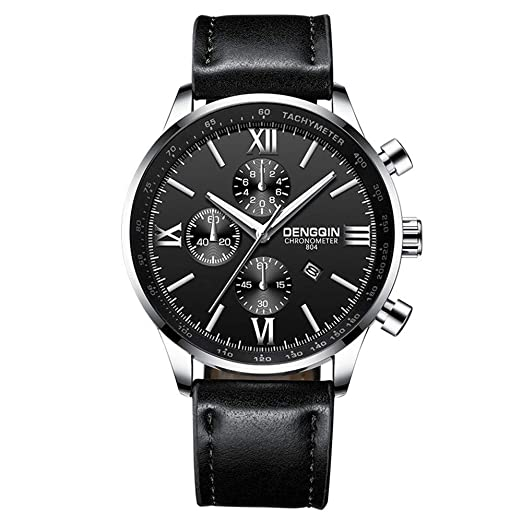 ... with Silver Stainless Steel Case Leather Strap Under 55 Casual Water Resistant Analog Quartz Watchs Wrist Watches on Sale on Clearance Relojes De Hombre