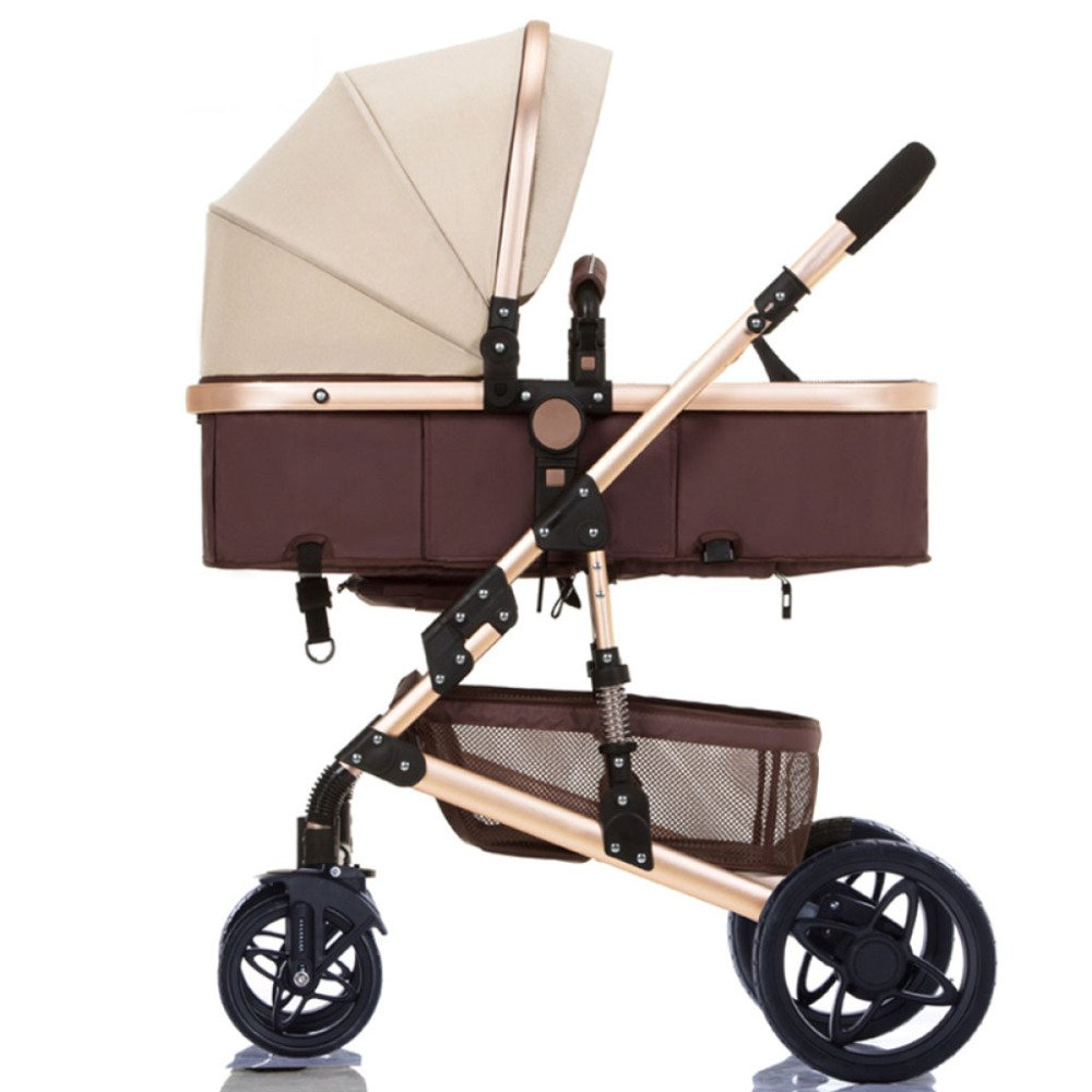 QXMEI Baby Stroller Can Sit Down, Lie Down, Lightweight Folding Shock Absorber, Portable Baby, Child Car, With Awning,Metallic