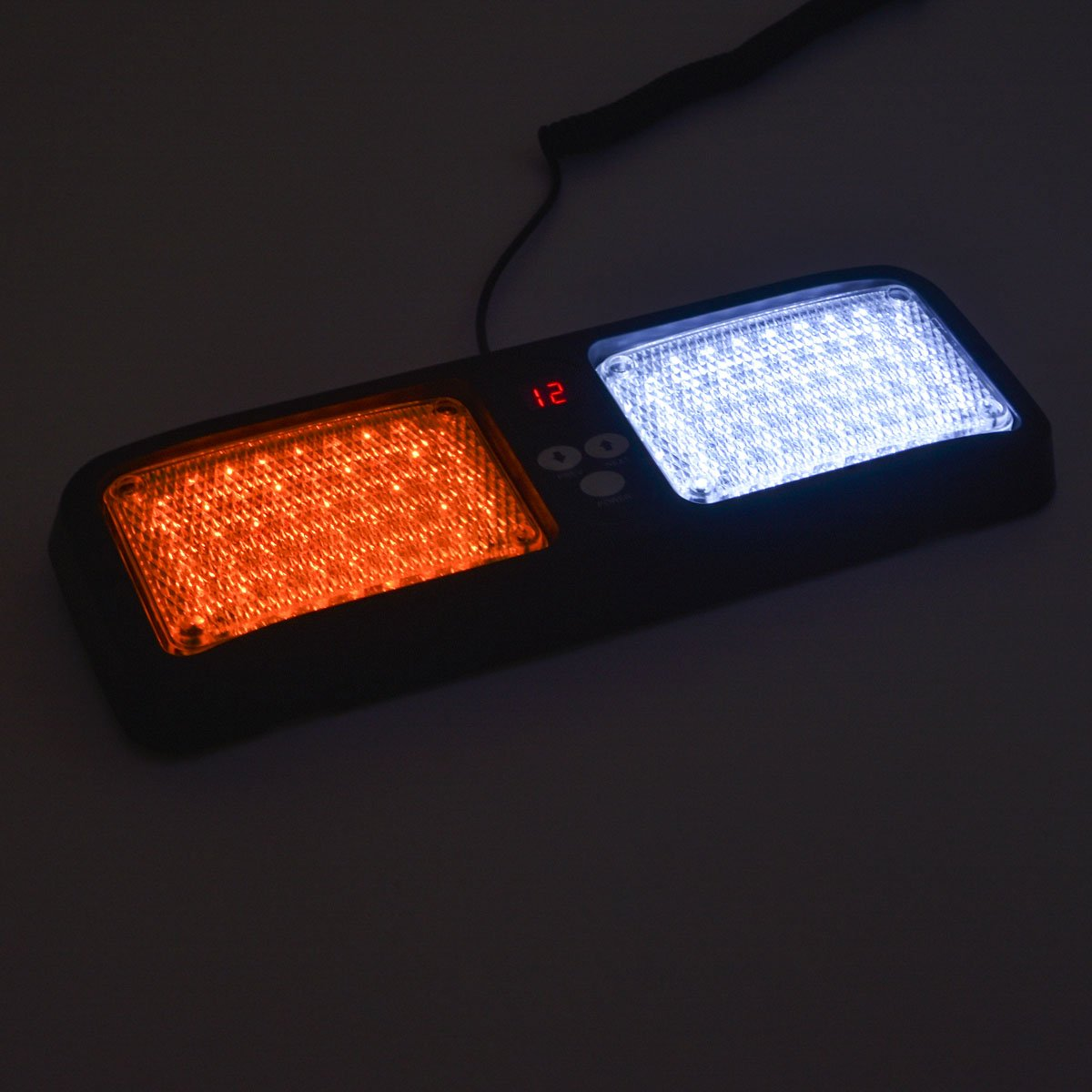 Red HY 86 LED Sunshield Strobe Light Super Bright Flashing Emergency Warning Lights for Visor Maximum Visibility with 12 Flashing Patterns Fits Commercial Truck Boat Car