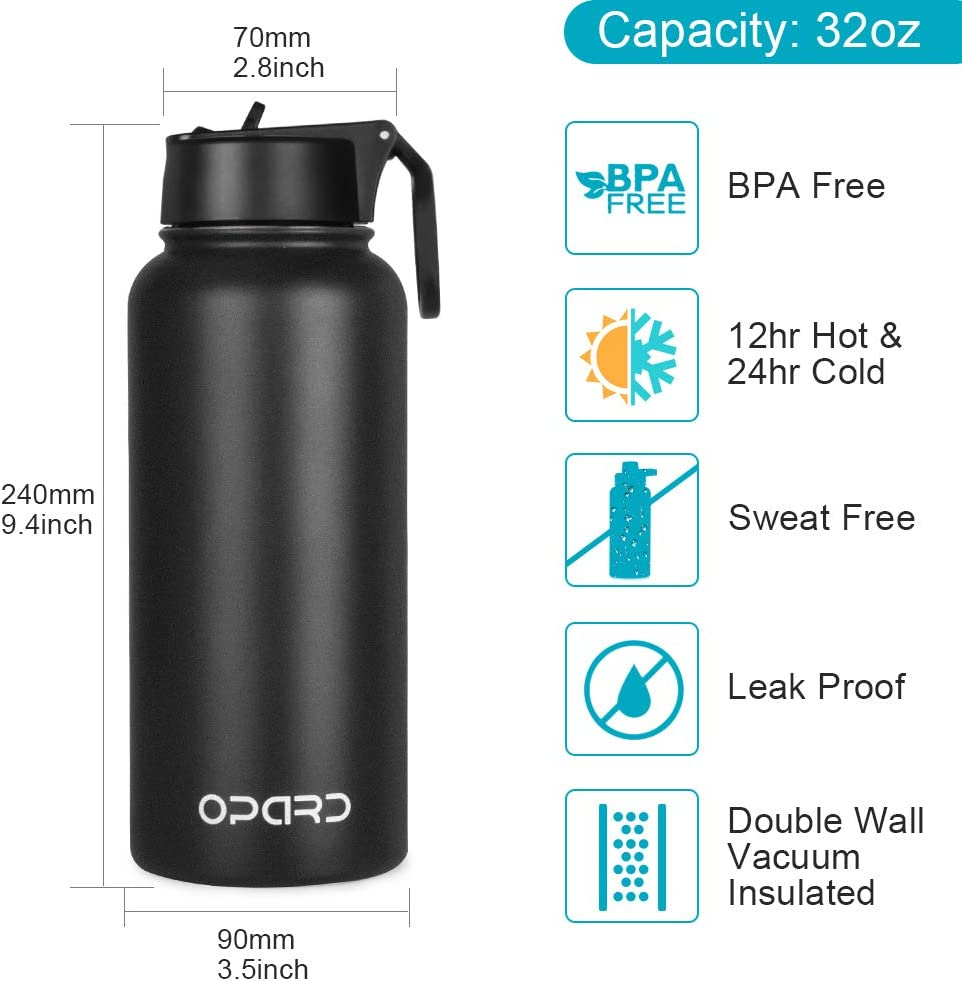 Opard Stainless Steel Water Bottle 32 oz Vacuum Insulated Double Walled Leak Proof Sports Water Bottle with Straw for Gym Travel Camping