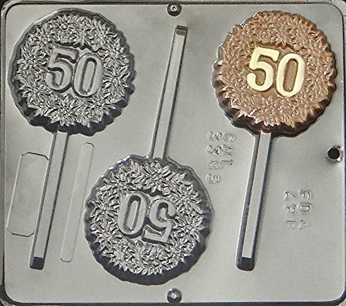 """50"" 50th Anniversary or Birthday Lollipop Chocolate Candy Mold 3385"