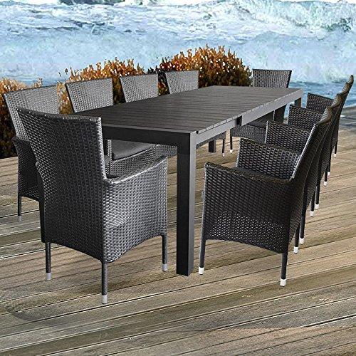 Garnitur Alu / Non Wood Tisch Ausziehbar 205/275x100cm + Alu / Poly Rattan  Sessel Inkl. Sitzkissen Stapelbar Stapelstuhl Sitzgruppe Sitzgarnitur