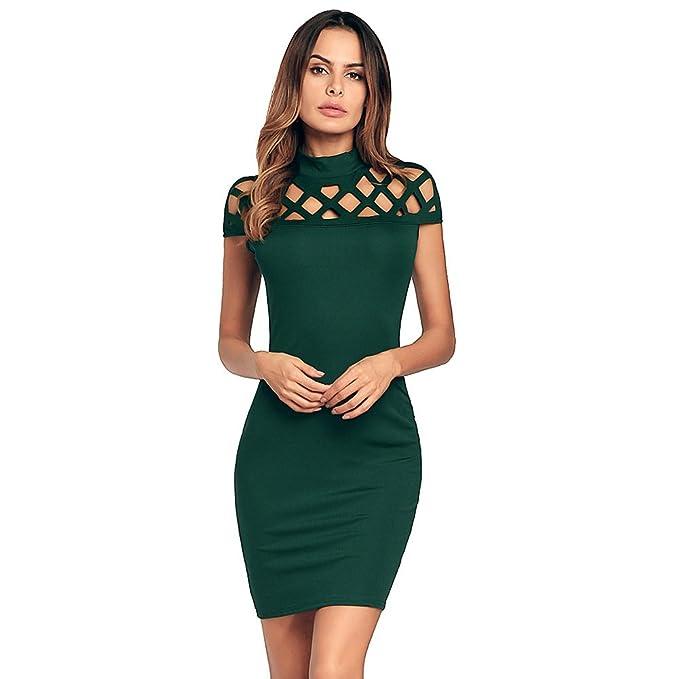 antaina Vestido de Bodycon de Color Verde Envoltura Hueca de Coctel Túnica Coctel Vestido de Mujer