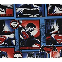 100% Cotton Fabric Quilt Prints DC Comics Superman Block Edition Red and Blue Licensed Sold By The Yard N-Cotton-36-OT