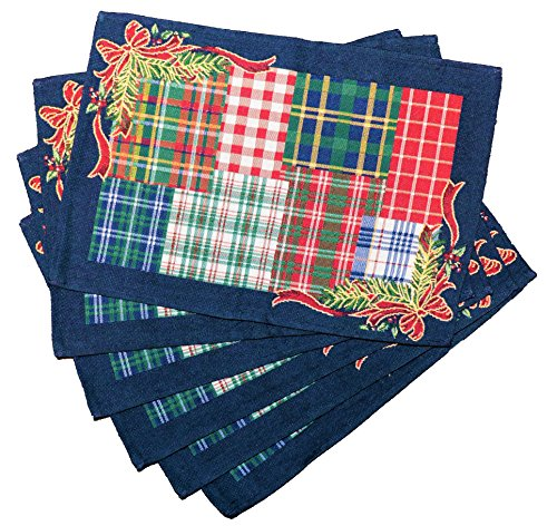 """Homvare Christmas Holiday Placemats 13""""X19"""", Set of 6, Woven Tapestry, Table Décor, Dinner ()"""