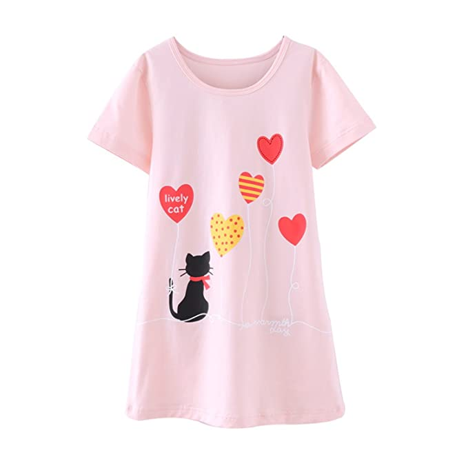 Amazon.com: Jasinwins Girls Sleepwear Nightgowns for Girl Summer ...