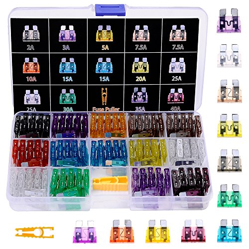 Winlyn 140pcs ATO / APR / ATC Fuse Car Kit Assorted Auto Car Truck Standard Blade Fuse Assortment 2A 3A 5A 7.5 A 10A 15A 20A 25A 30A 35A 40A Car Boat Truck SUV Automotive Replacement Fuses Puller