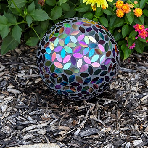 Lily's Home Colorful Mosaic Glass Gazing Ball, Designed with a Stunning Holographic Petal Mosaic Pattern to Bring Color to Any Home and Garden, Silver & Purple (10 Inches Dia.) by Lilyshome (Image #1)
