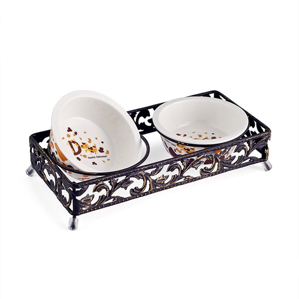 Be Good Pet Double Diner Feeder Elevated Ceramic/Stainless Steel Bowls with Durable Non-Skid Stand Wear-Resistant Dog Water Food Double Bowls Set Perfect for Cat Dogs Puppies