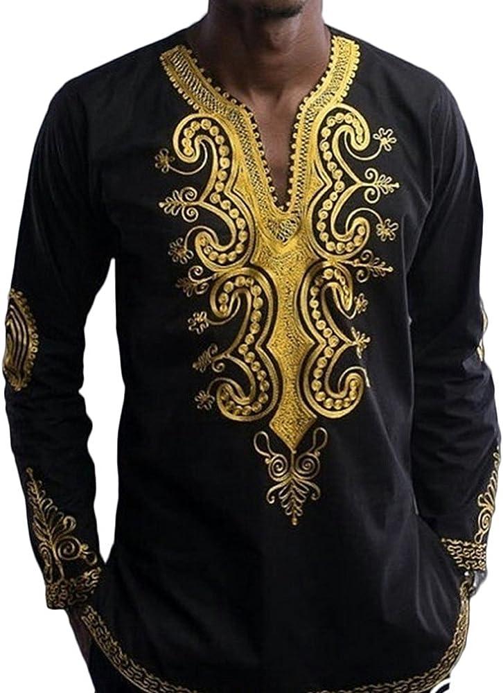 Camiseta Estampada Africana Hombre Camiseta Manga Larga Dashiki Camisa Casual Hombre Manga Larga Negro 2XL: Amazon.es: Ropa y accesorios