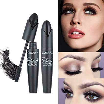 c7ba75d3f5f Joykith Mascara Waterproof Silicone Brush Elongated Thick Curl Growth  Liquid Smudge Proof Clump Free Lengthening Collagen