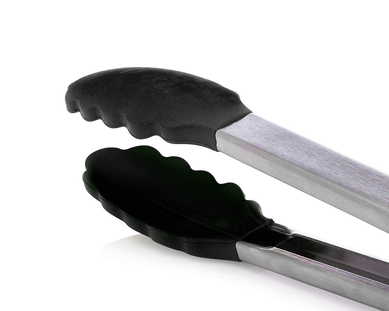 manico in acciaio inox facile da impugnare pinze da cucina//barbecue antiscivolo StarCooks clip di bloccaggio intelligente nere set di 2
