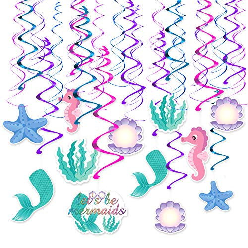 30 Ct Mermaid Hanging Swirl Decor - Ocean Theme Ceiling Streamers - Mermaid Party Supplies Decorations -