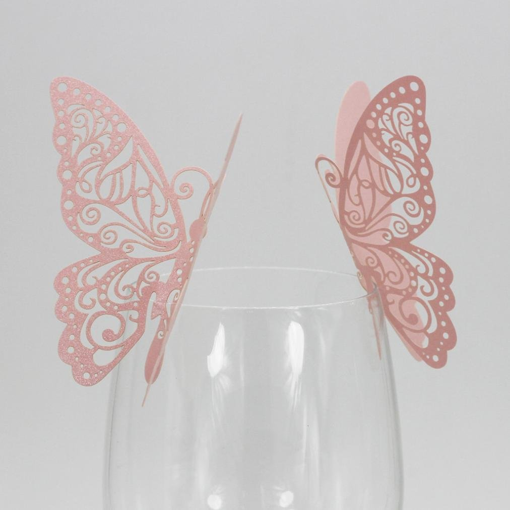 Exteren New 50 Pcs Butterfly Wine Glass Paper Card for Wedding Party White Water Cup Water Bottle Water Mug Flask (Pink)
