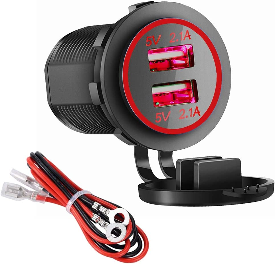 Dual USB Charger Socket Power Outlet 4.2A-Red 2.1A /& 2.1A for Car Boat Marine Mobile with Wire Fuse DIY Kit