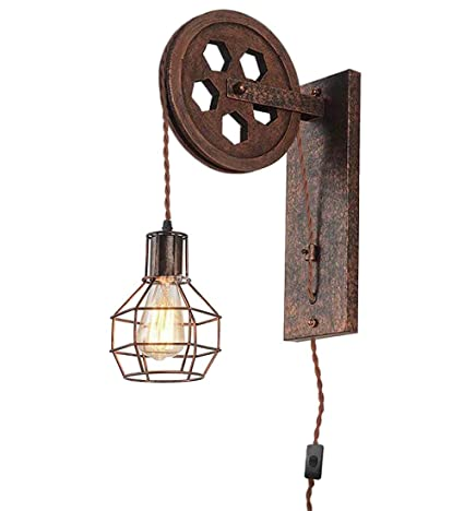 Lamp Covers & Shades Industrial Decor Wall Lamp Sconce Cafe Light Iron Wood Pendant Retro Vintage Lights & Lighting