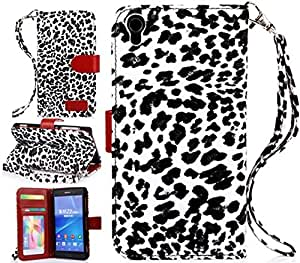 Sony Xperia Z2 case, Sony Xperia Z2 Leather case, Leopard Wallet PU Leather Case Flip Cover Built-in Card Slots & Stand for Sony Xperia Z2