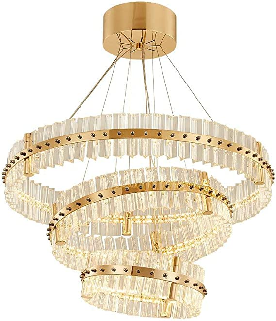 Modern chandelier lighting large staircase LED crystal chandeliers round ring light fixtures home decoration cristal lustre