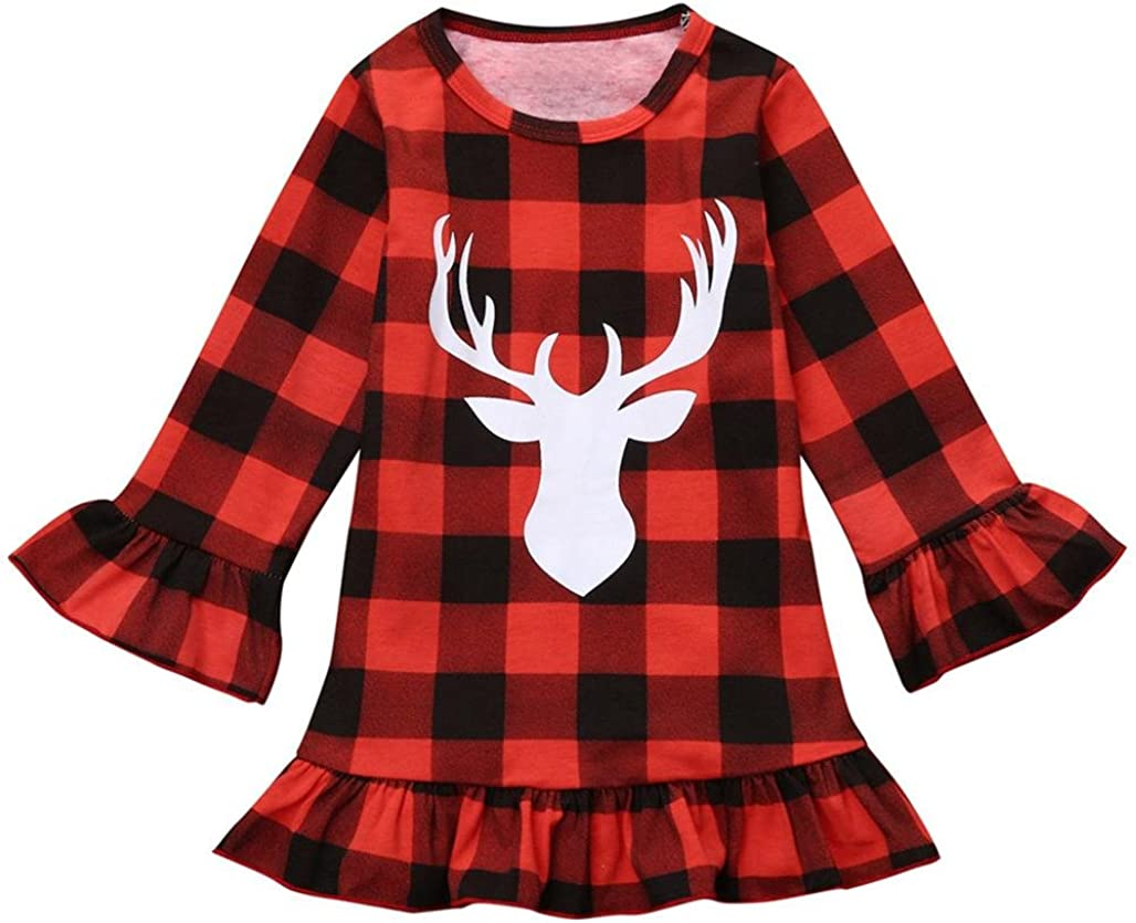 Dreamyth Toddler Kids Baby Girl Deer Plaid Princess Party Pageant Christmas Dress Clothes