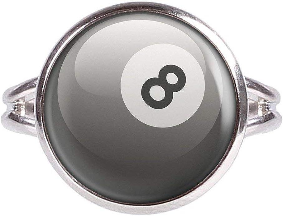 Mylery Anillo con Motivo 8-Ball Ocho Bolas de Billar Pool Bola ...