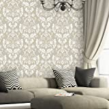 J BOUTIQUE STENCILS Wall Stencil Large Damask Leonard stencils better than wallpaper for DIY decor