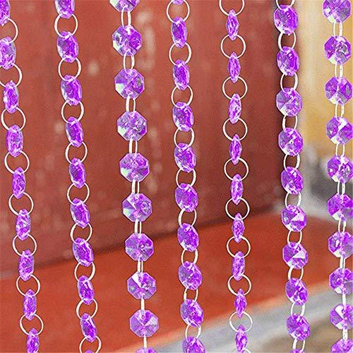 2 pcs Crystal Beads Curtain Hanging Door Curtain Acrylic Beads Garland Chain String Curtain Panel for Room Wedding Decor (Purple)