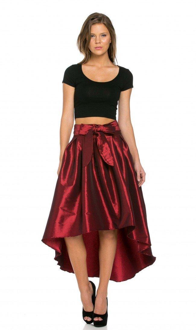 SOHO GLAM Burgundy Pleated High-Low Taffeta Midi-Skirt (Plus Sizes Available S-XXXL)