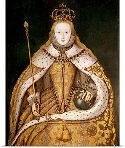 Great BIG Canvas Poster Print entitled Queen Elizabeth I in Coronation Robes, c.1559-1600 (oil on (Ermine Robe)