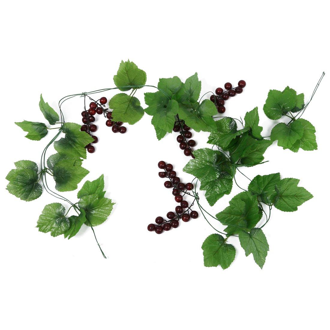 Gaoominy 2x Artificial Grape Vine Garland Fruit for Home Garden Decoration
