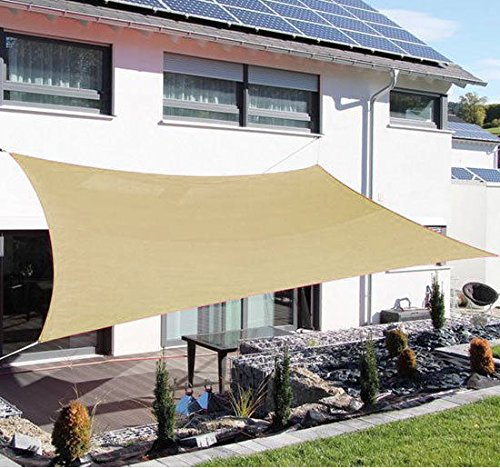Outsunny  Tan Square Outdoor Patio Sun Shade Sail Pool Fabric Top Cover Canopy,  20 x 16-Feet (Blocks 16 Home 16 Depot X Patio)