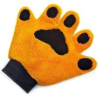 AOLVO Haustier-Fellpflegehandschuh in Bärenform, sehr saugfähig zum Reinigen von Hunden Katzen, Haustierhaarentferner Bürste Massagehandschuh fur Hunde und Katzen mit langem oder kurzem Fell