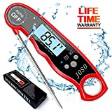 Digital Meat Thermometer Instant Read - Waterproof Kitchen Food Cooking Thermometer Super Fast BBQ Thermometer with Calibration and Backlit Function for Food, Candy, Milk, Tea, BBQ, Grill Smokers