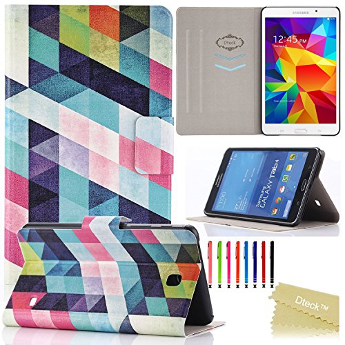 T230 Case, Dteck(TM) Fashion Vintage Design Flip PU Leather Cute Case [Card Slots] Magnetic Closure Stand Case for Samsung Galaxy Tab 4 7.0 inch T230/T231/T235 (1 Colorful World)