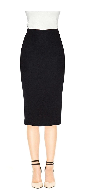 d008b274ae VenusDesigns Women Tummy Control Below Knee Office Wear Pencil Skirt at  Amazon Women's Clothing store: