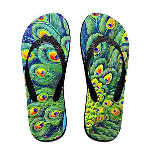 PTJHKET Women Black Slippers Flops Beautiful Flip Men Kids Peacock for rv1WrPz