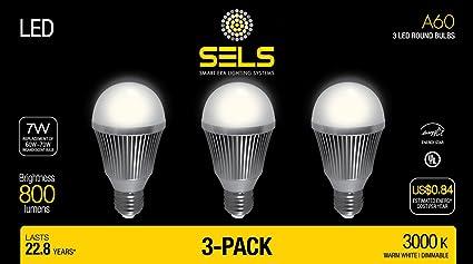 SELS LED A19 Dimmable 60-Watt Equivalent LED Light Bulb, E26 Standard Base,