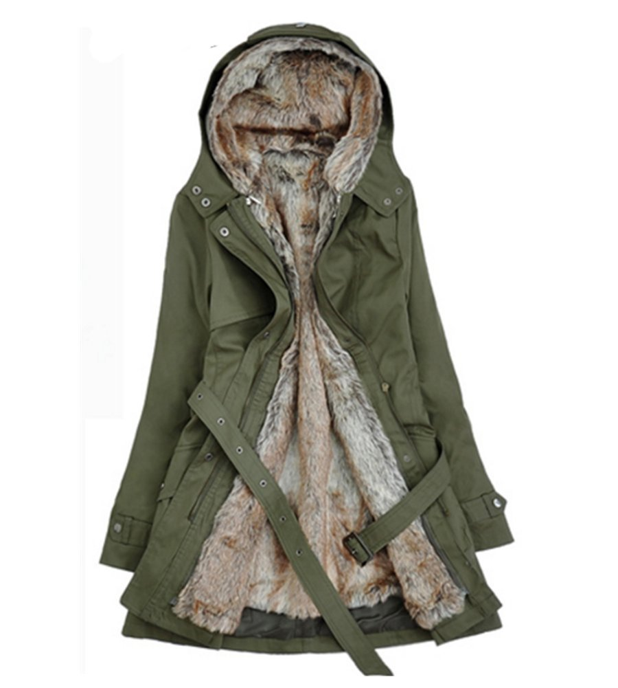FENIKUSU Winter Coats for Women Thicken Lamb Wool Hooded Cotton Jackets (S, Army Green)